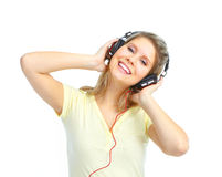 Girl listening to the music Stock Image