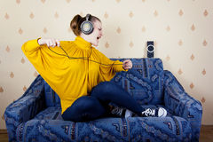 The girl listening to music Royalty Free Stock Image