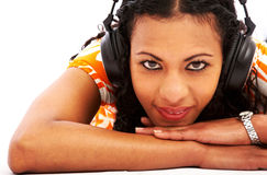 Girl listening to music Stock Photos