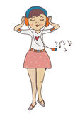 Girl listening to music funny cartoon Royalty Free Stock Photography
