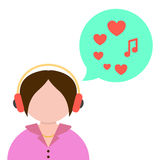 Girl listening to music with green speech bubble Royalty Free Stock Image