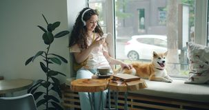 Girl listening to music with headphones using smartphone in cafe with dog. Pretty girl is listening to music with headphones and using smartphone sitting on stock footage