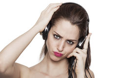 Girl listening to music and kissing Stock Photo