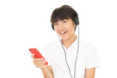 Girl listening to music Royalty Free Stock Photos