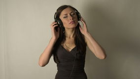 Girl listening to music stock video