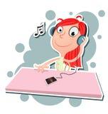 Girl listening to music. Vector illustration of cartoon girl listening to music. EPS 10 Royalty Free Stock Photo