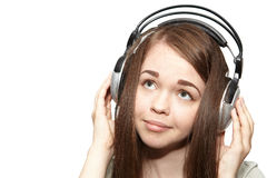Girl listening to the music Royalty Free Stock Images