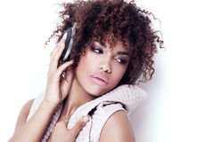 Girl listening to music. Royalty Free Stock Image