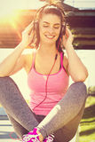 Girl listening to some music. urban lifestyle. Urban girl listening to some music. city style Royalty Free Stock Images