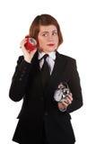 ДевGirl listening to the ticking clock Royalty Free Stock Image