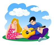 Girl listens as a favorite guy plays the guitar. Vector illustration. Sunny blue sky with white clouds. Couple in love vector illustration