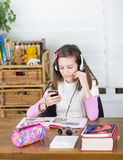 Girl listens music Royalty Free Stock Photos