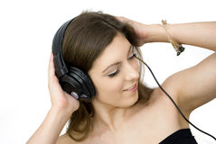 Girl Listens to Music Royalty Free Stock Photos