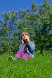 Girl listens to music Stock Photo