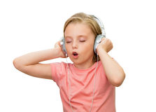 Girl listens to music. Royalty Free Stock Images