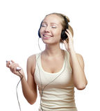 Girl listerning the music Stock Photography