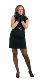 Girl in a little black dress and gloves Stock Photo