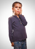 Girl little child have toothache, emotions large Stock Images