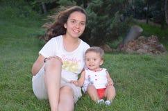 Girl and little child in natural life. Gozdagi istanbul turkey Stock Image