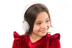 Girl little child use music modern headphones. Listen for free new and upcoming popular songs right now. Music always. With me. Little girl listen music stock photography
