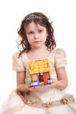 Girl and the little house Royalty Free Stock Images