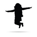 Girl little jump vector silhouette Royalty Free Stock Photos