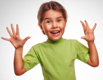 Girl little pleased joyful surprise emotion Royalty Free Stock Photography
