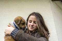 The girl and the little puppy Stock Photography