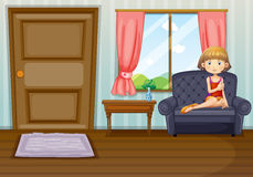A girl in the living room royalty free illustration