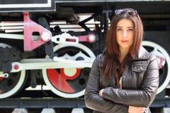 Girl and locomotive Stock Photo