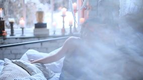 Girl in a loft room.  stock footage