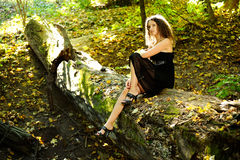 Girl on a log. Girl in black dress sitting on a log in the autumn forest Royalty Free Stock Images