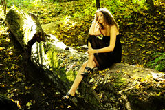 Girl on a log. Girl in black dress sitting on a log in the autumn forest Stock Image