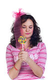 Girl with lollipop Stock Image