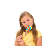 Girl with lollipop. Stock Photos