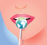 Girl with lollipop as earth Stock Photography