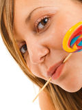 Girl with a lollipop Stock Photo