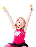 Girl with lollipop isolated on white Stock Photos