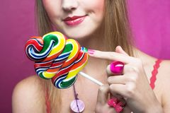 Girl with lollipop Royalty Free Stock Photo