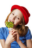 Girl and a lollipop Royalty Free Stock Photography