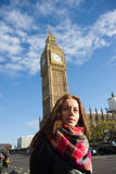 Girl in London Big Ben Royalty Free Stock Image