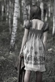 Girl Lonely In The Forest Stock Photos