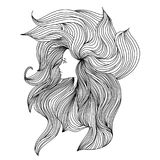 Girl with long beautiful hair. Vector illustration. Black and white sketch. Royalty Free Stock Photo