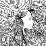 Girl with long beautiful hair. Vector illustration. Black and white sketch. Royalty Free Stock Image