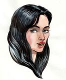 Girl with a long black hair. Ink and watercolor portrait of a beautiful female Royalty Free Stock Images