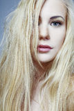 Girl with long blond hair. Stock Photos