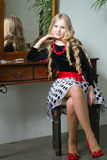 Girl with long blond hair. Portrait beautiful girl with long blond hair Royalty Free Stock Photography