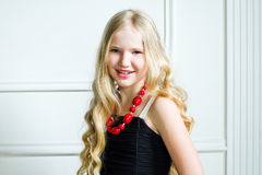 Girl with long blond hair. Portrait beautiful girl with long blond hair Royalty Free Stock Photo