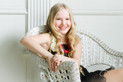 Girl with long blond hair. Portrait beautiful girl with long blond hair Royalty Free Stock Photos