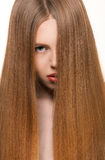 Girl with long blond hair. Beautiful girl with eye covered by long blond hair Stock Images